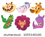 cartoon african animals. wild... | Shutterstock . vector #1055140100