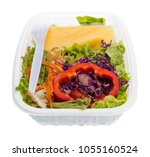 salad with dressing in plastic... | Shutterstock . vector #1055160524