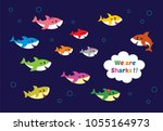 Cute Sharks Family Vector. Cut...