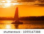 boat in sunset  near san diego  ... | Shutterstock . vector #1055167388