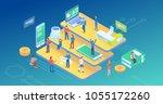 ultra hd resolution technology... | Shutterstock .eps vector #1055172260
