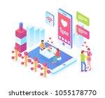 modern isometric smart online...   Shutterstock .eps vector #1055178770