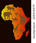 africa animals over a map of... | Shutterstock .eps vector #105519479