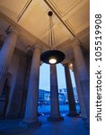 twilight view under the Brandenburger Gate in Berlin - stock photo
