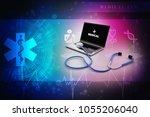 3d rendering stethoscope on... | Shutterstock . vector #1055206040
