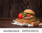 tasty grilled home made burger...   Shutterstock . vector #1055210213