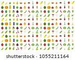 isolated vegetables fruits... | Shutterstock .eps vector #1055211164