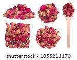 big set of tea of dry rose buds ... | Shutterstock . vector #1055211170