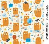 seamless pattern   cats studing ... | Shutterstock .eps vector #105522323