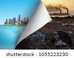 change concept  turning... | Shutterstock . vector #1055223230