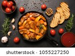 traditional goulash stewed meat ... | Shutterstock . vector #1055227250