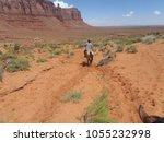 navajo horserider in a checked... | Shutterstock . vector #1055232998