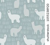 seamless pattern with lama.... | Shutterstock .eps vector #1055238920
