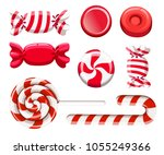 set of red sweetmeats. hard... | Shutterstock .eps vector #1055249366