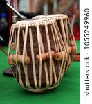 Small photo of Closeup of tabla,membranophone percussion instrument or pair of drums from Indian subcontinent, used in traditional, classical, popular and folk music