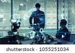 business and technology concept.... | Shutterstock . vector #1055251034