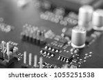 circuit board with resistors... | Shutterstock . vector #1055251538