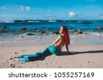 mermaid girl with red hair and... | Shutterstock . vector #1055257169