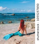 mermaid girl with red hair and...   Shutterstock . vector #1055257850