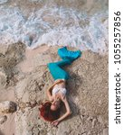 mermaid girl with red hair and... | Shutterstock . vector #1055257856