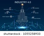 industry 4.0 with hologram real ... | Shutterstock .eps vector #1055258933
