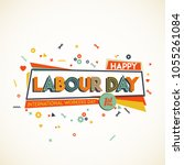 happy labour day. greeting card ... | Shutterstock .eps vector #1055261084