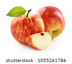 red apple with slice | Shutterstock . vector #1055261786