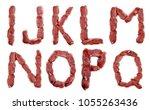 alphabet from fresh meat... | Shutterstock . vector #1055263436