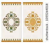 set with two cards with floral... | Shutterstock .eps vector #1055264018