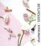 makeup cosmetic accessories...   Shutterstock . vector #1055267138