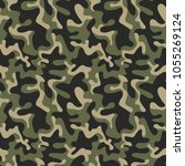 seamless military camouflage... | Shutterstock .eps vector #1055269124