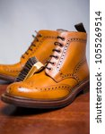 Small photo of Footwear Concepts.Extreme Closeup of Premium Male Brogue Tanned Boots with Cleaning Brush on Foreground.Vertical Image
