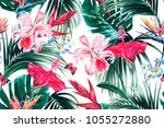 floral seamless vector tropical ... | Shutterstock .eps vector #1055272880