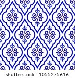 blue and white royal pattern ... | Shutterstock .eps vector #1055275616