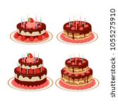 set of cakes on a white... | Shutterstock .eps vector #1055275910