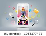 smartphone with launch rocket...