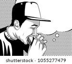 black and white vector poster... | Shutterstock .eps vector #1055277479