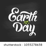 happy earth day handwritten... | Shutterstock .eps vector #1055278658
