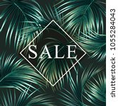 sale banner  poster with palm... | Shutterstock .eps vector #1055284043