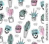 cactus seamless pattern. hand...   Shutterstock .eps vector #1055290790