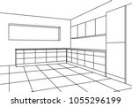 kitchen sketch modern plan... | Shutterstock .eps vector #1055296199