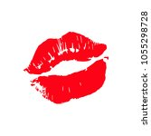 print of lips kiss vector... | Shutterstock .eps vector #1055298728