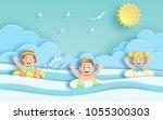 paper art style of kids having... | Shutterstock .eps vector #1055300303