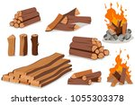 fire wood and campfire. log and ... | Shutterstock .eps vector #1055303378
