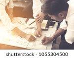 businessman develop plan and... | Shutterstock . vector #1055304500