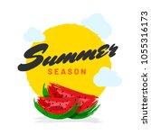 watercolors effect  summer... | Shutterstock .eps vector #1055316173