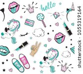 fashion patch badges with... | Shutterstock .eps vector #1055319164