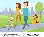 young family with toddler and... | Shutterstock .eps vector #1055325503