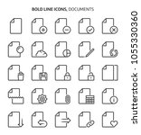 documents  bold line icons. the ... | Shutterstock .eps vector #1055330360