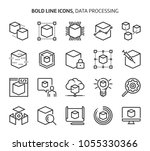 data processing  bold line... | Shutterstock .eps vector #1055330366